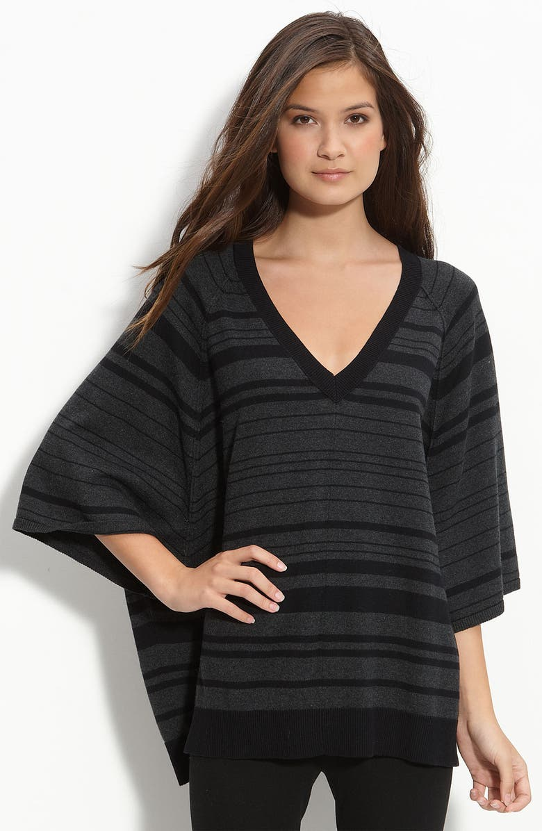 CASLON<SUP>®</SUP> V-Neck Poncho Sweater, Main, color, 001