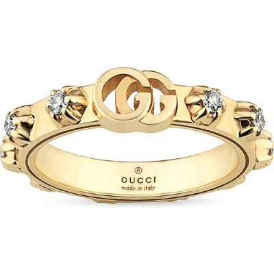 Gucci Gg Running Diamond Stacking Ring