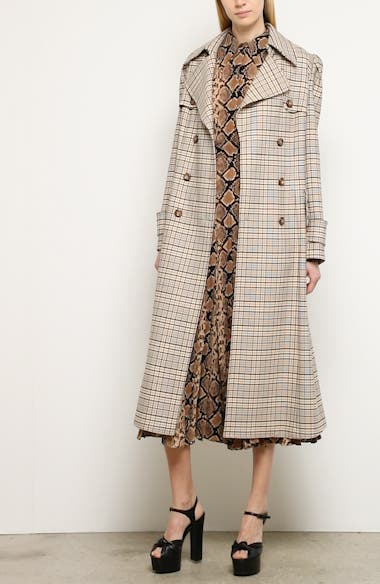 Michael Kors Puff Sleeve Plaid Trench Coat, video thumbnail