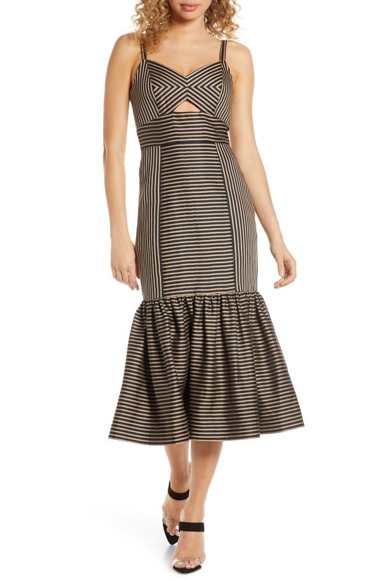 EVER NEW Rio Stripe Ruffle-Hem Midi Dress, Main, color, BLACK/ TAN STRIPE