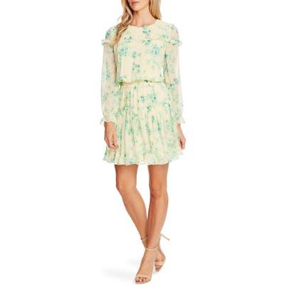 Cece Breezy Bouquet Clip Dot Ruffle Hem Long Sleeve Dress, Yellow