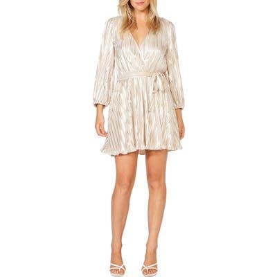 Bardot Bellissa Pleated Long Sleeve Faux Wrap Dress, Beige