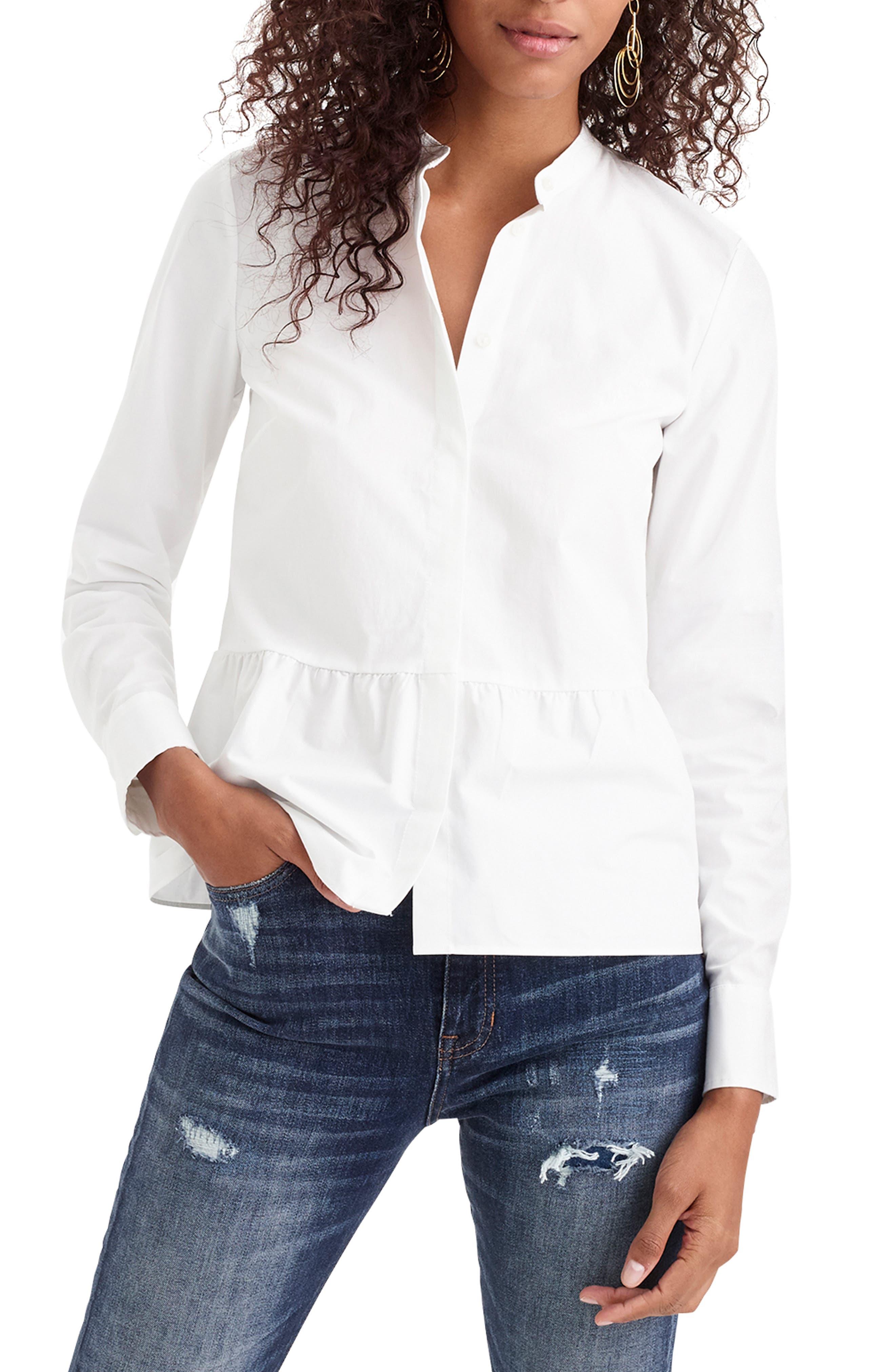 ,                             Stretch Button-Up Peplum Shirt,                             Main thumbnail 1, color,                             WHITE