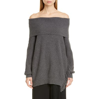 Stella Mccartney Fringe Trim Off The Shoulder Wool Sweater, US / 44 IT - Grey