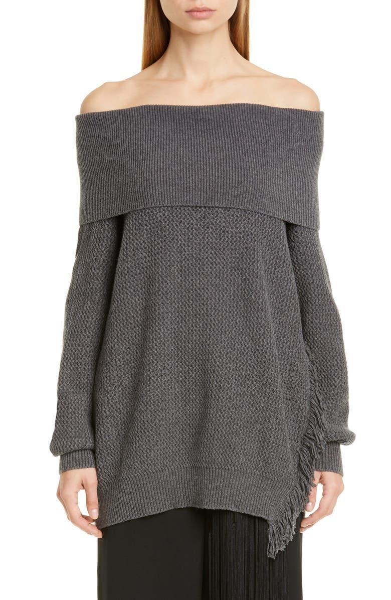 STELLA MCCARTNEY Fringe Trim Off the Shoulder Wool Sweater, Main, color, GREY MELANGE