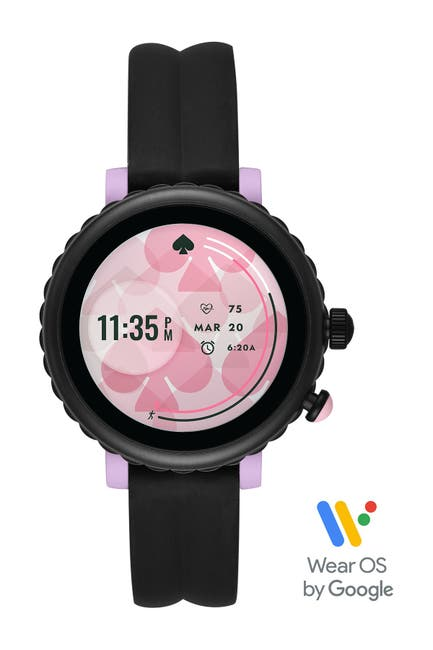 Image of kate spade new york women's black silicone scallop sport smartwatch, 42mm
