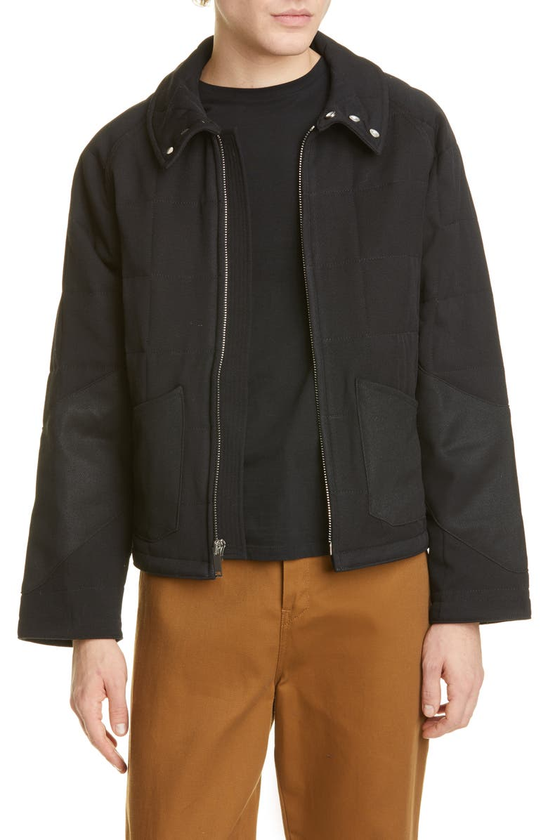 BILLY LOS ANGELES Quilted Wool Twill Jacket, Main, color, 001