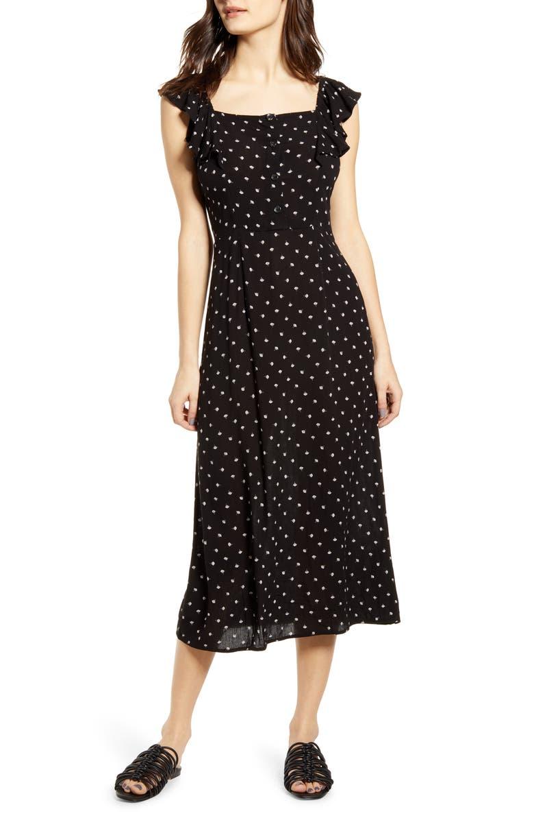 BILLABONG Love Turned Up Midi Dress, Main, color, BLACK