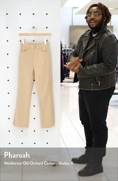 The Huster High Waist Fray Hem Crop Flare Jeans, sales video thumbnail