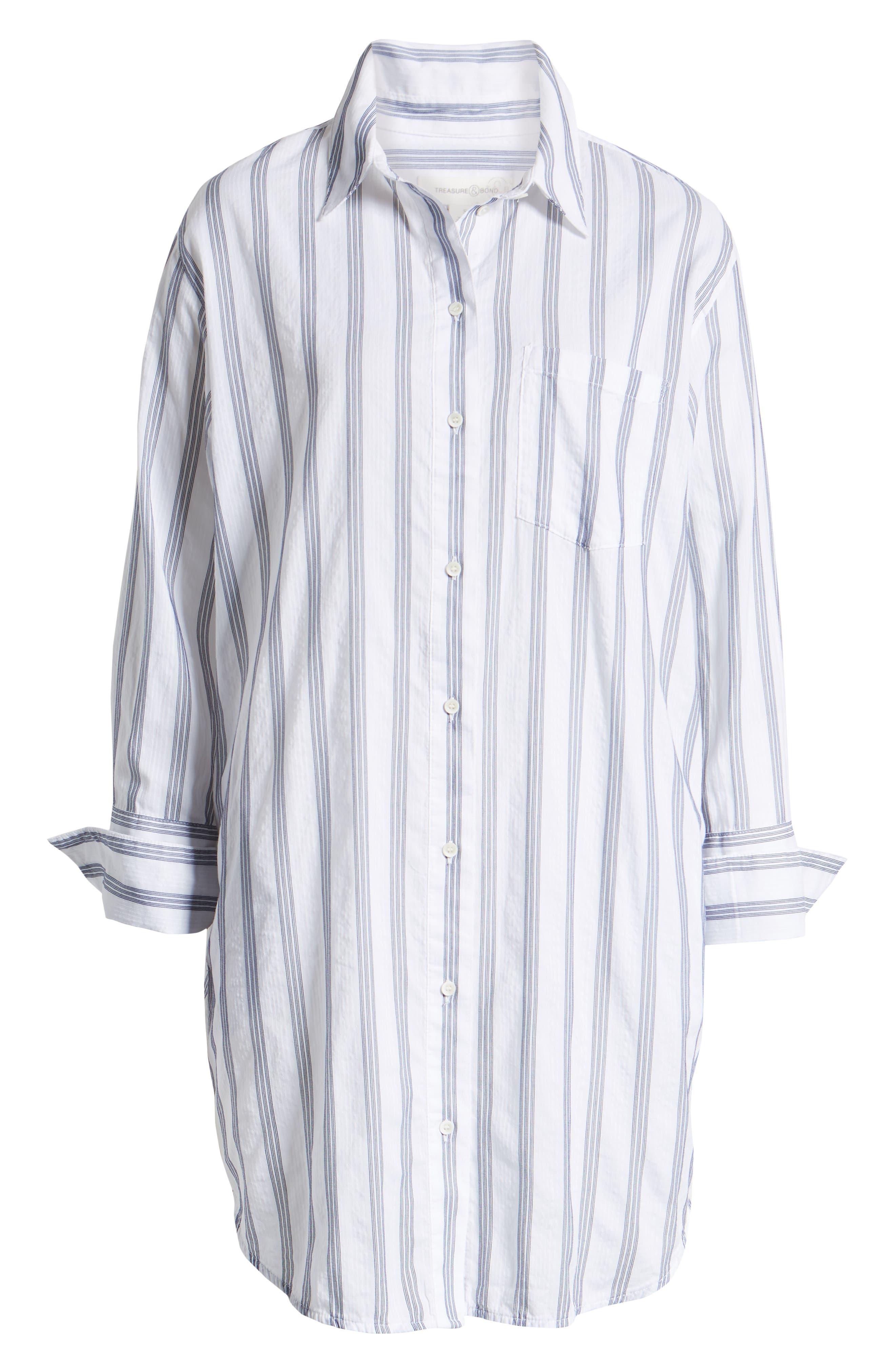 ,                             Stripe Shirtdress,                             Alternate thumbnail 7, color,                             BLUE- WHITE TAILOR STRIPE