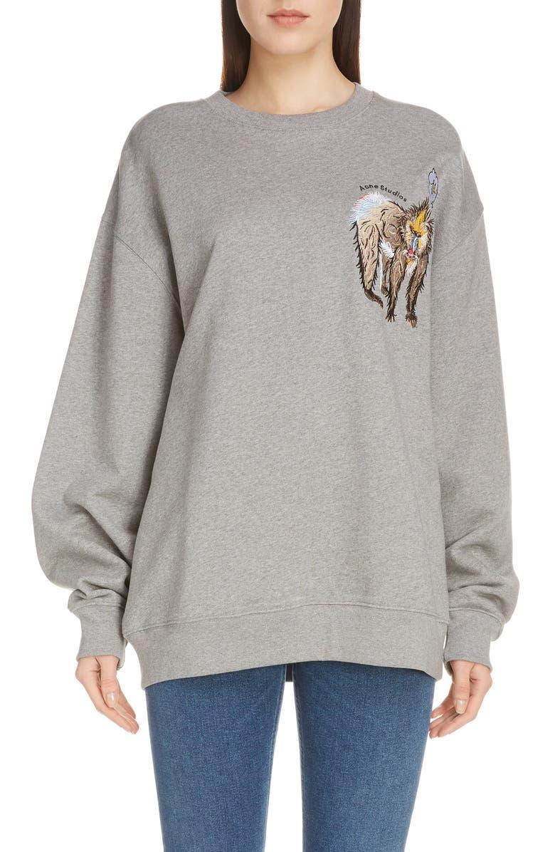 ACNE STUDIOS Forba Animal Embroidery Sweatshirt, Main, color, LIGHT GREY MELANGE