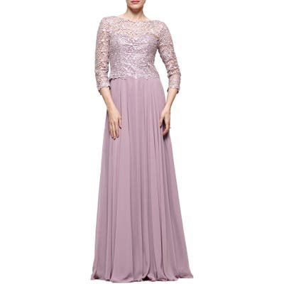 Marsoni Guipure Lace & Chiffon A-Line Gown, 2 (similar to 2) - Pink