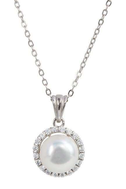 Image of Savvy Cie Sterling Silver Cultured Freshwater Pearl Halo Pendant Necklace