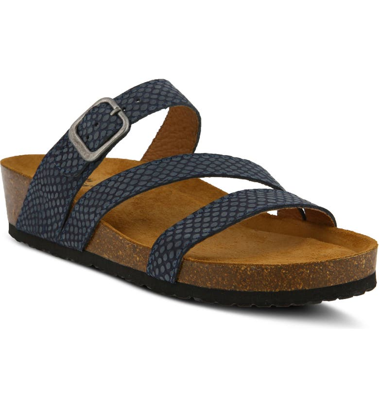SPRING STEP Flossie Slide Sandal, Main, color, BLUE LEATHER