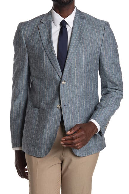 Image of Original Penguin Blue Pinstripe Two Button Notch Lapel Slim Fit Blazer