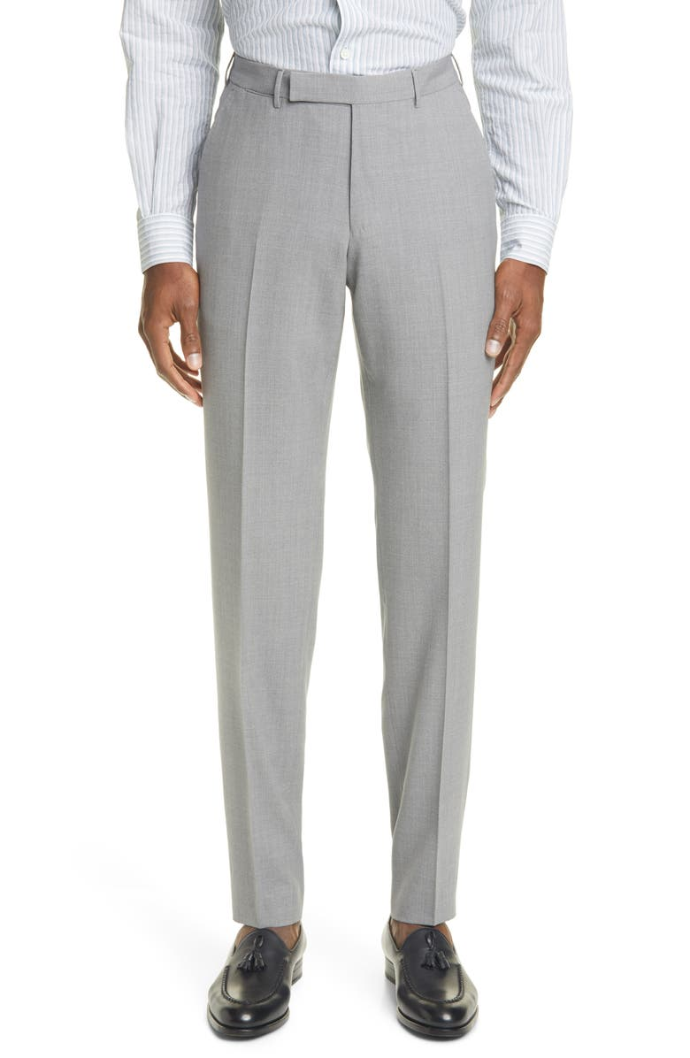 ERMENEGILDO ZEGNA High Performance Flat Front Solid Wool Dress Pants, Main, color, 042