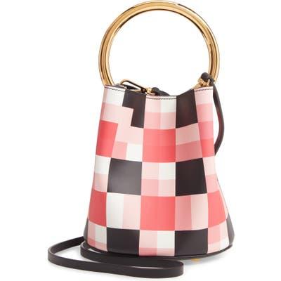 Marni Check Top Handle Leather Bucket Bag - Pink