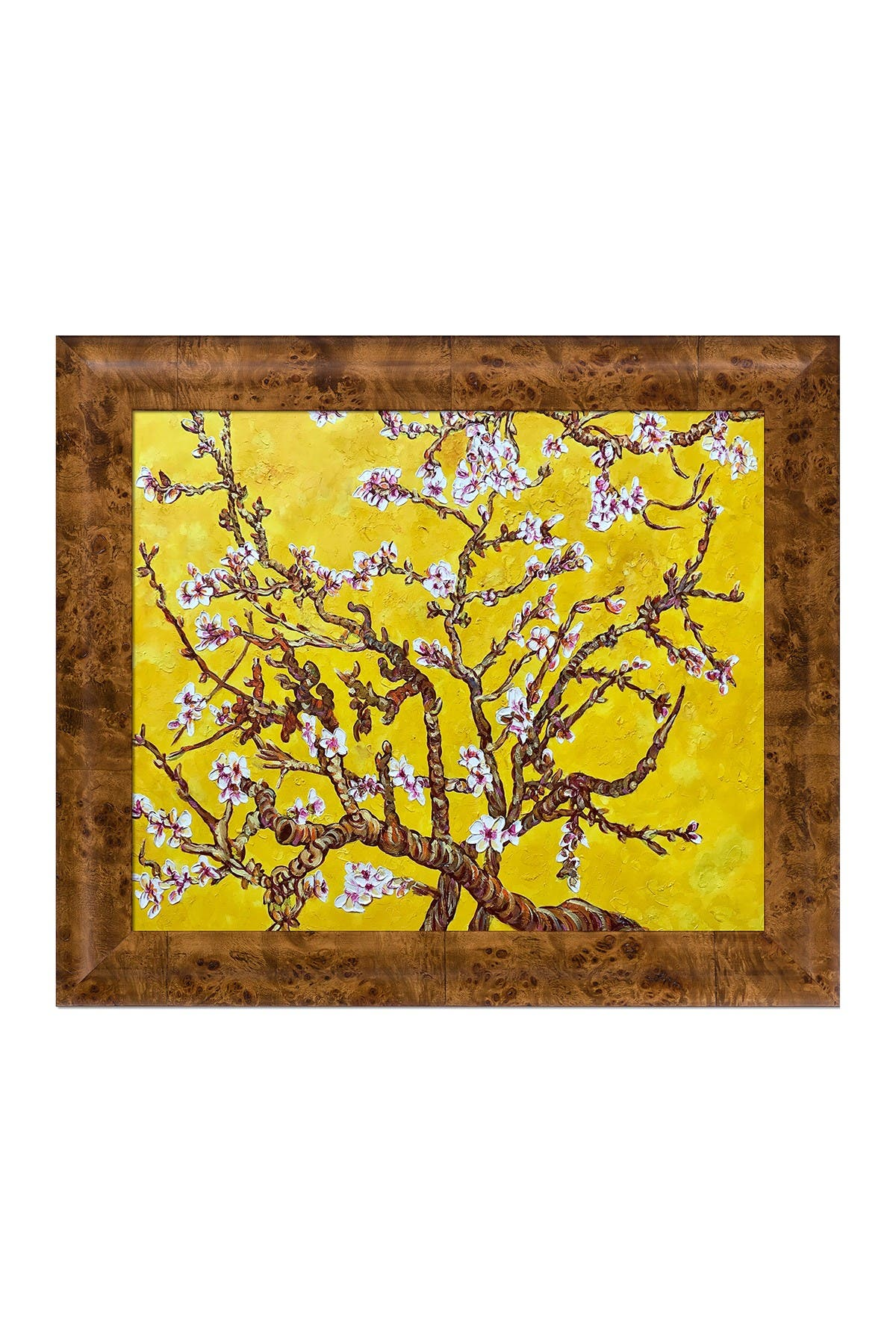 Image of Overstock Art Branches of an Almond Tree in Blossom, Citrine Yellow by La Pastiche Originals Framed Hand Painted Oil Reproduction
