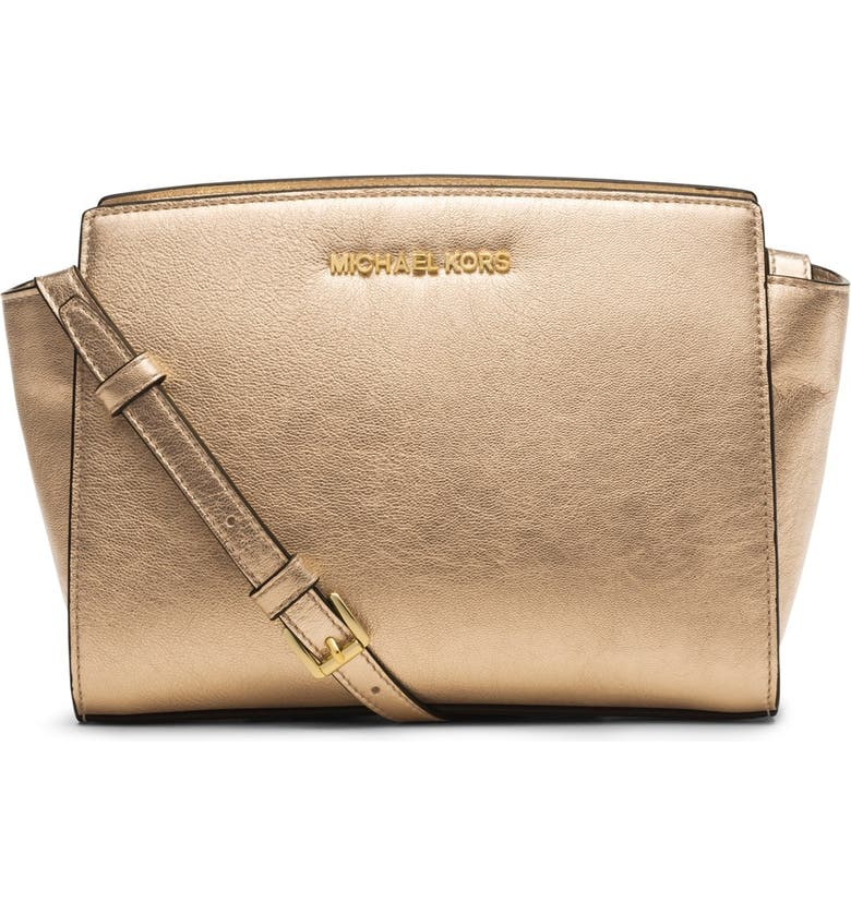 MICHAEL MICHAEL KORS 'Medium Selma' Metallic Leather Crossbody Bag, Main, color, 710