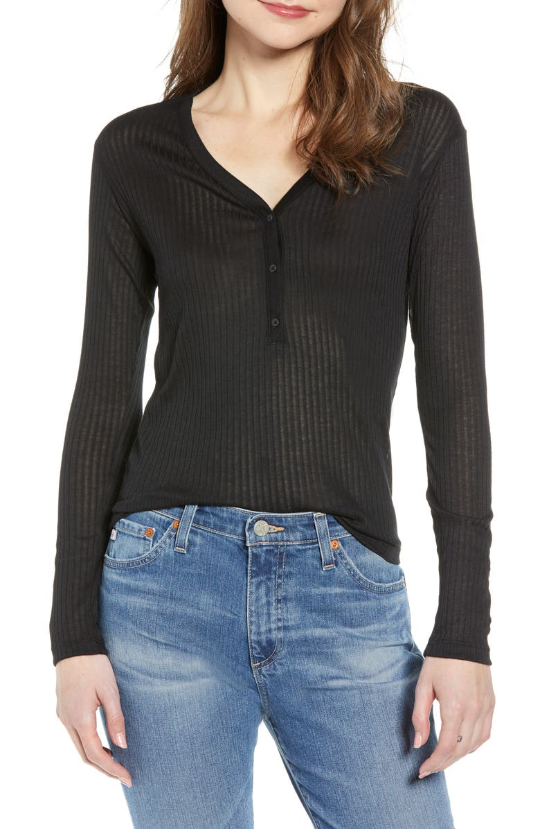 TREASURE & BOND V-Neck Henley Top, Main, color, 001