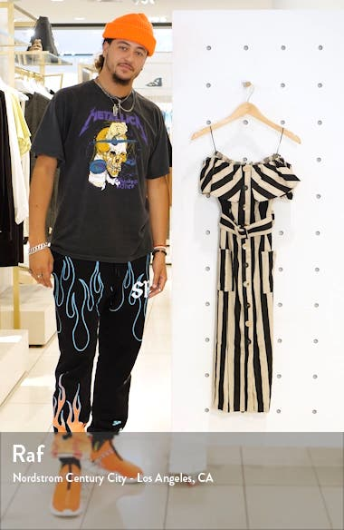 Off the Shoulder Cotton & Linen Midi Dress, sales video thumbnail