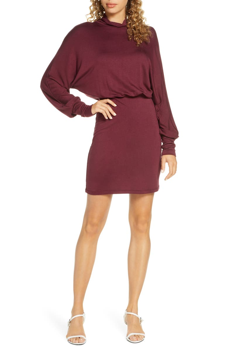 FRAICHE BY J Turtleneck Long Sleeve Blouson Knit Dress, Main, color, WINE