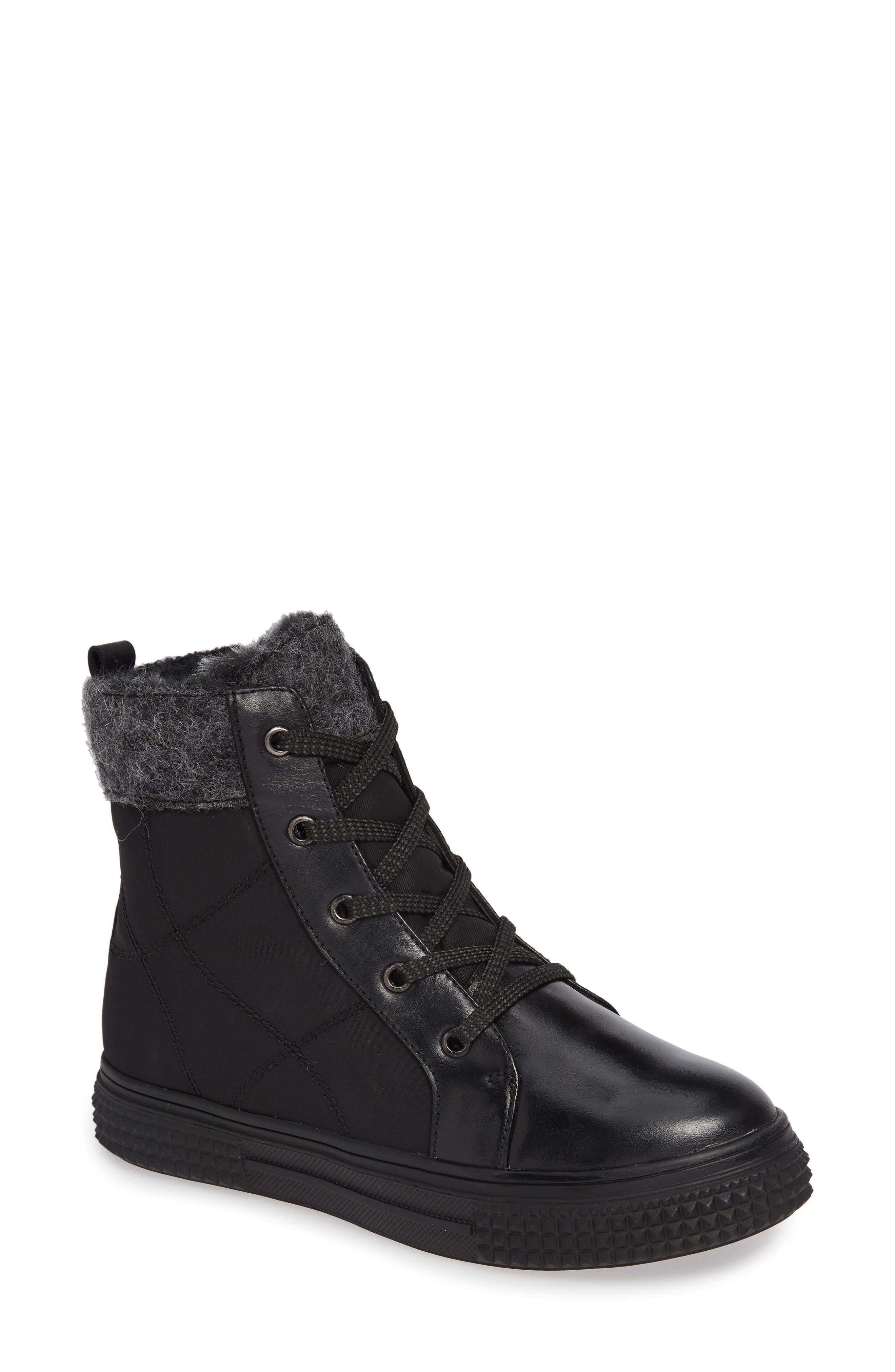 ,                             Ithaca Waterproof Sneaker Bootie,                             Main thumbnail 1, color,                             BLACK LEATHER
