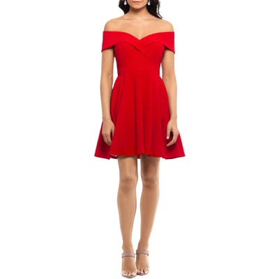 Xscape Off The Shoulder Party Dress, Red