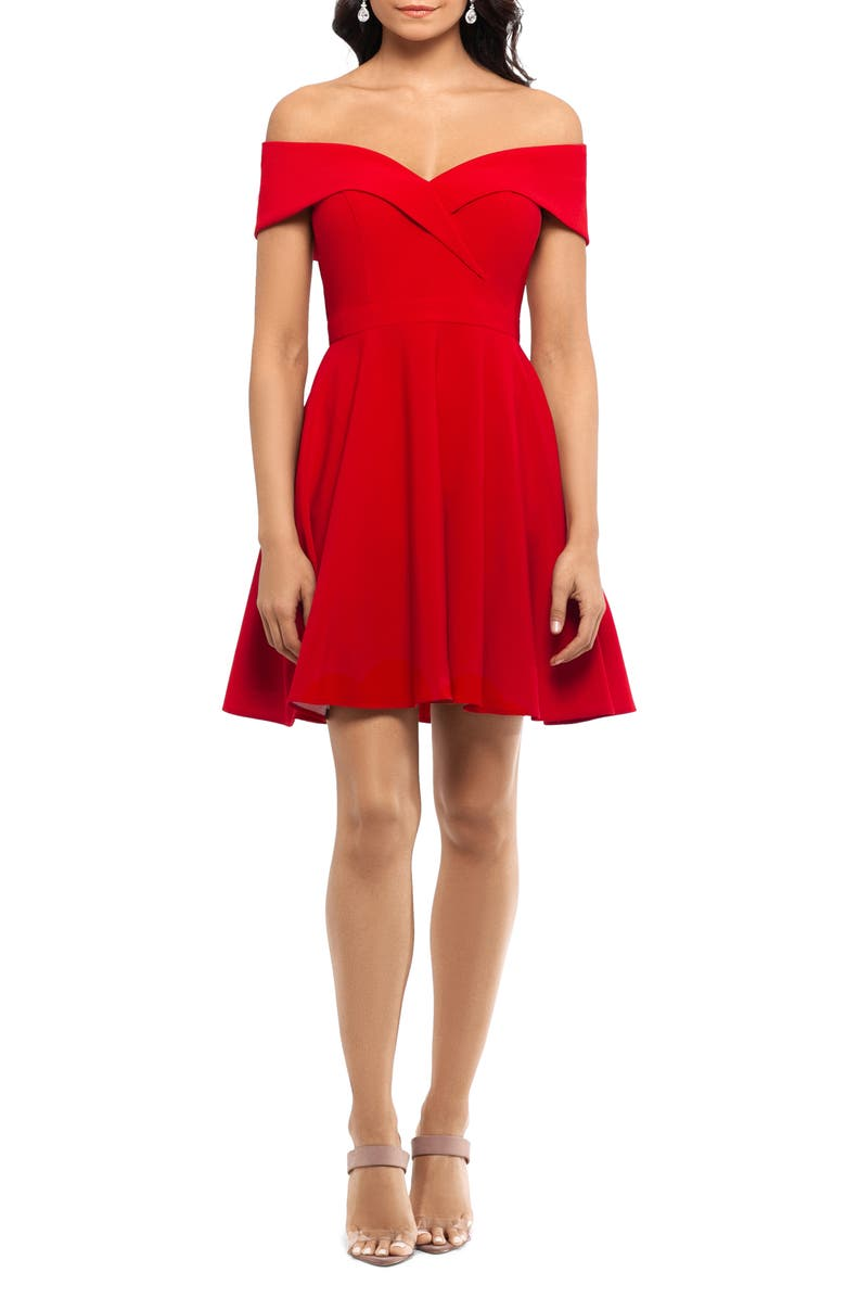 XSCAPE Off the Shoulder Party Dress, Main, color, RED