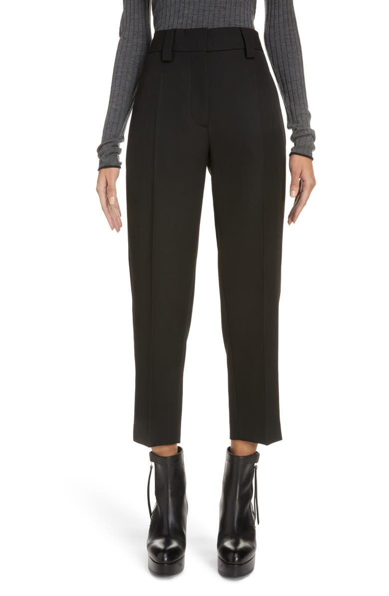 ACNE STUDIOS Pristine Crop Suiting Trousers, Main, color, BLACK
