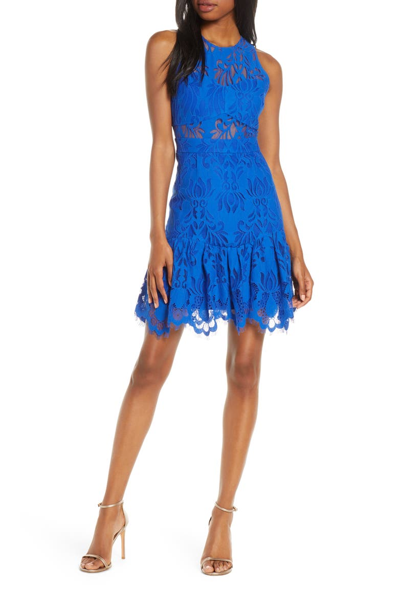 FOXIEDOX Ellingtone Embroidered Lace Dress, Main, color, ROYAL BLUE