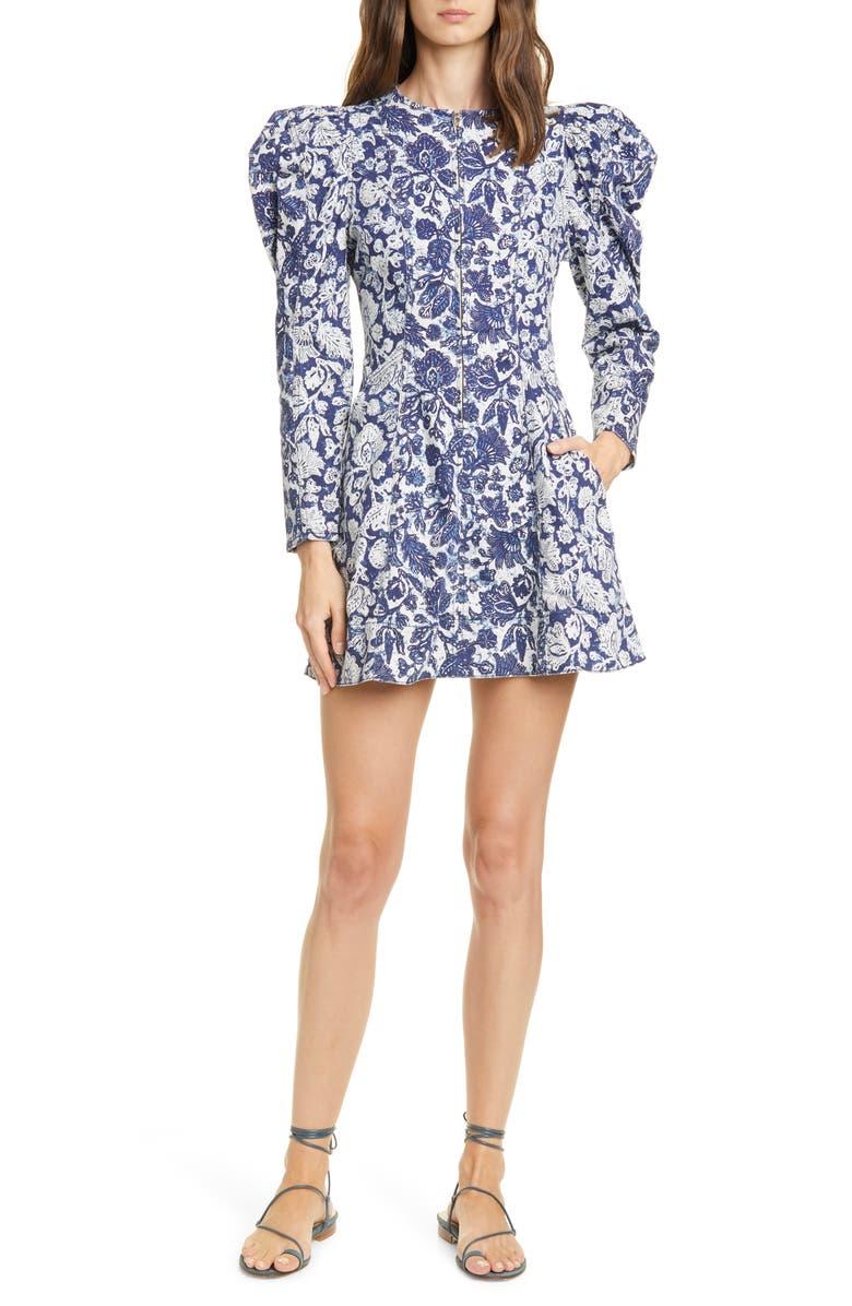 ULLA JOHNSON Wren Floral Long SLeeve Denim Dress, Main, color, FLORAL PATCHWORK