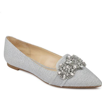Badgley Mischka Echo Embellished Loafer Flat, Metallic