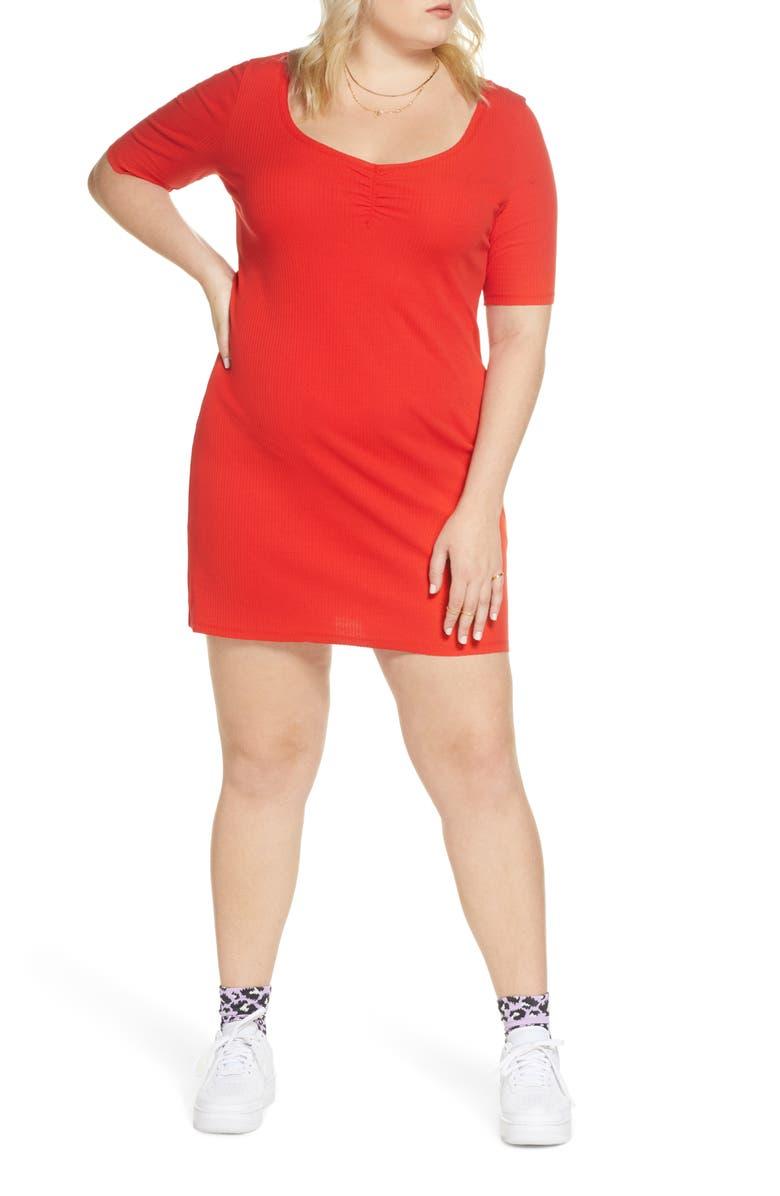 BP. x Claudia Sulewski Shirred Front Ribbed Minidress, Main, color, 610