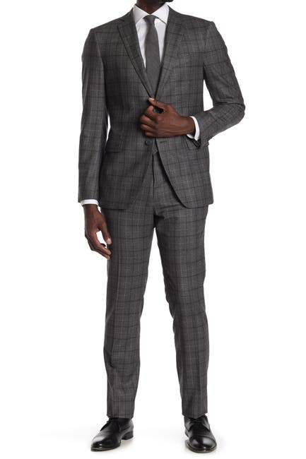 Image of John Varvatos Collection Charcoal Plaid Two Button Notch Lapel Wool Tailored Fit Suit