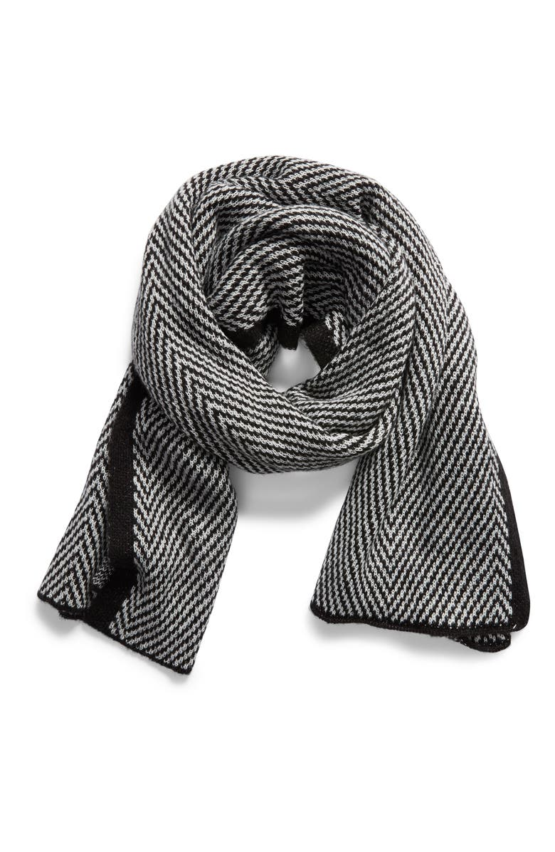 TREASURE & BOND Herringbone Scarf, Alternate, color, BLACK COMBO
