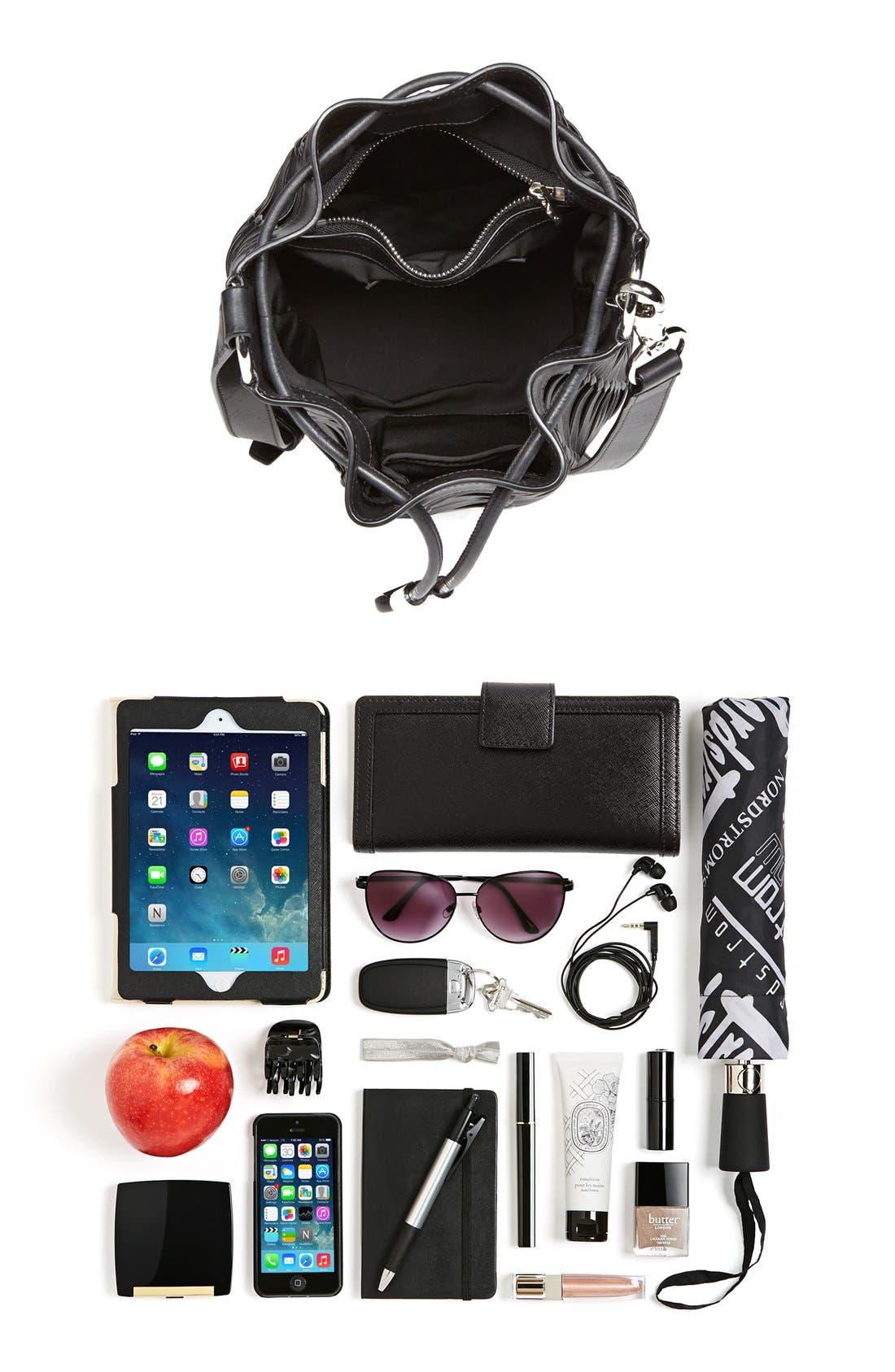 ,                             'Alpha' Woven Leather Bucket Bag,                             Alternate thumbnail 4, color,                             001