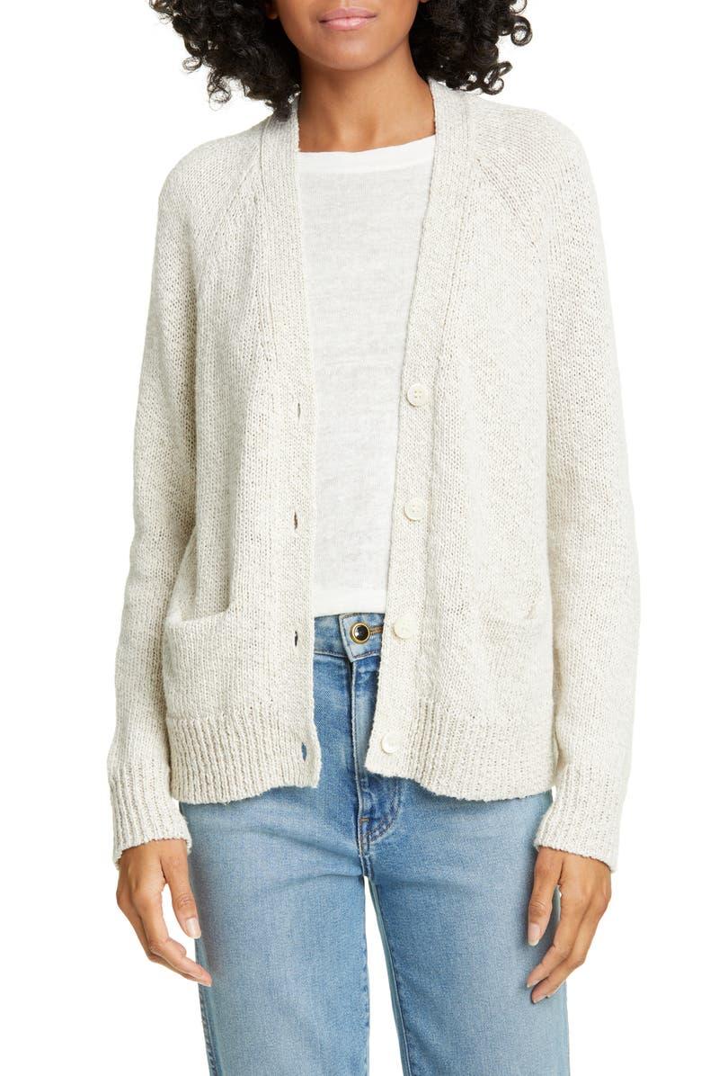 JENNI KAYNE Stanford Cotton & Linen Cardigan, Main, color, NATURAL