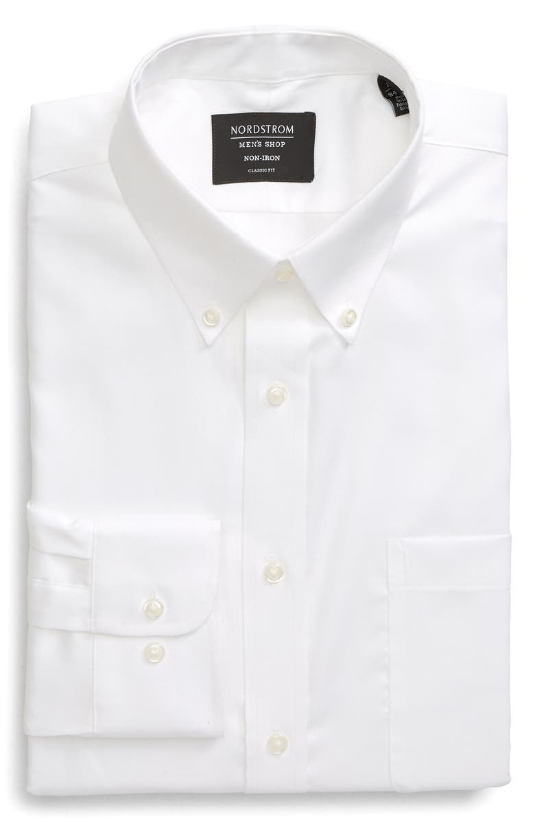 NORDSTROM MEN'S SHOP Classic Fit Non-Iron Solid Dress Shirt, Main, color, WHITE BRILLIANT