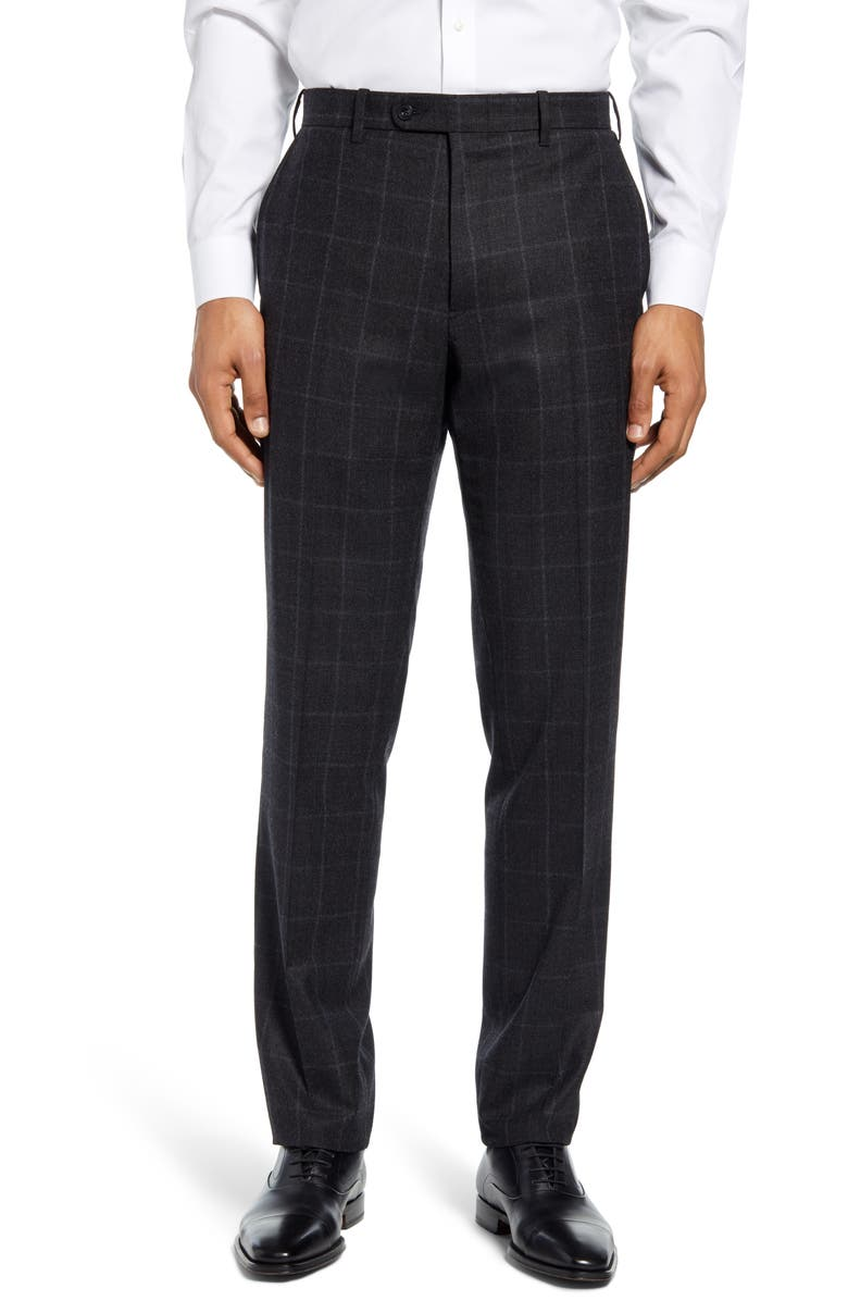 JOHN W. NORDSTROM<SUP>®</SUP> Torino Traditional Fit Flat Front Plaid Wool & Cashmere Trousers, Main, color, BLACK COAL GREY PLAID
