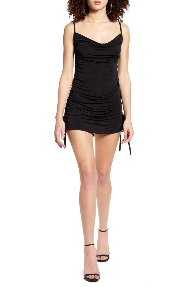 TIGER MIST Porto Ruched Minidress, Main, color, BLACK
