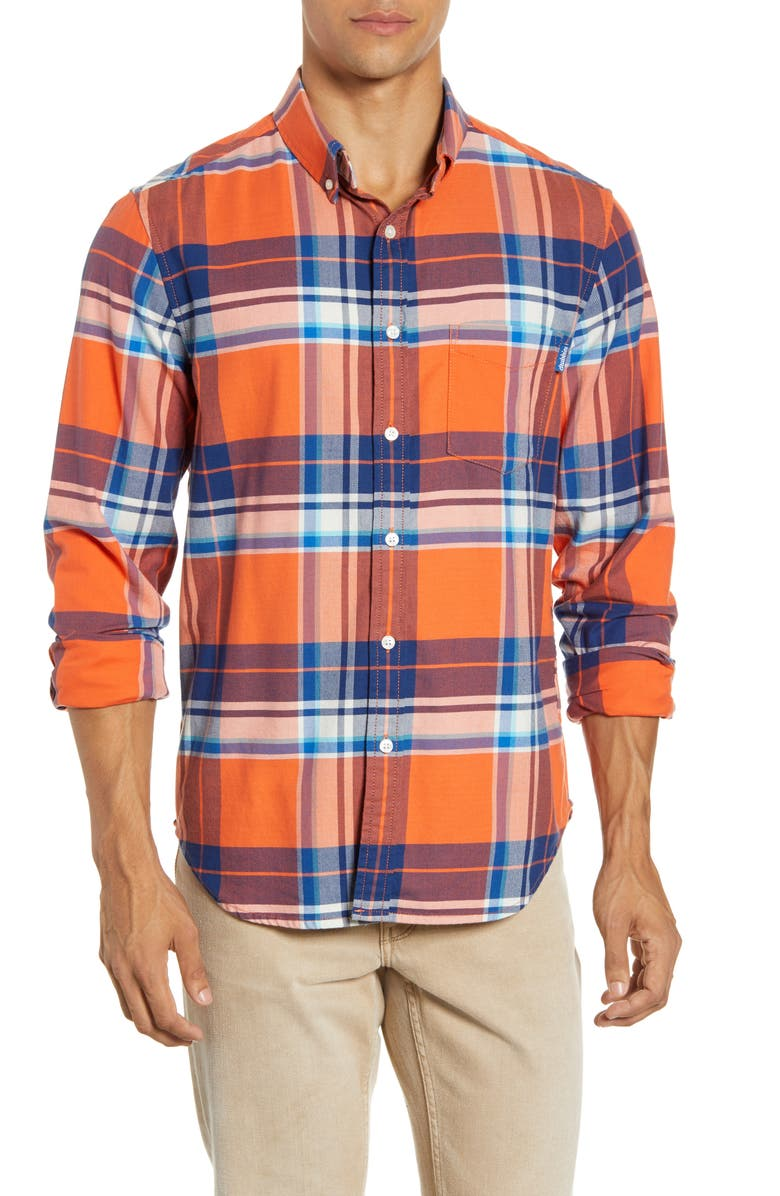 CHUBBIES The Come Out And Plaid Button-Down Shirt, Main, color, DARK ORANGE