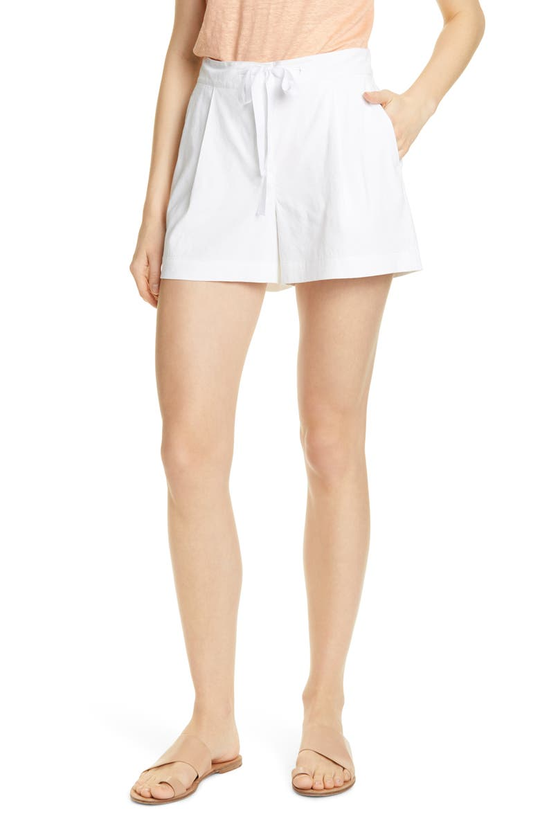 NORDSTROM SIGNATURE Drawstring Stretch Linen Blend Shorts, Main, color, 100