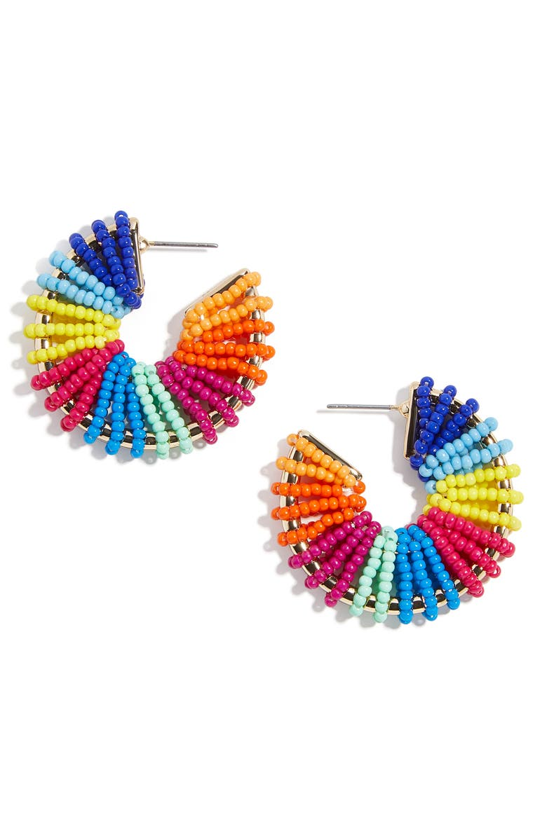 BAUBLEBAR Giana Beaded Hoop Earrings, Main, color, PRIMARY RAINBOW