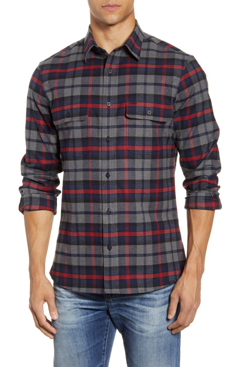 NORDSTROM MEN'S SHOP Trim Fit Plaid Flannel Button-Up Shirt, Main, color, GREY RED ROBERT CHECK