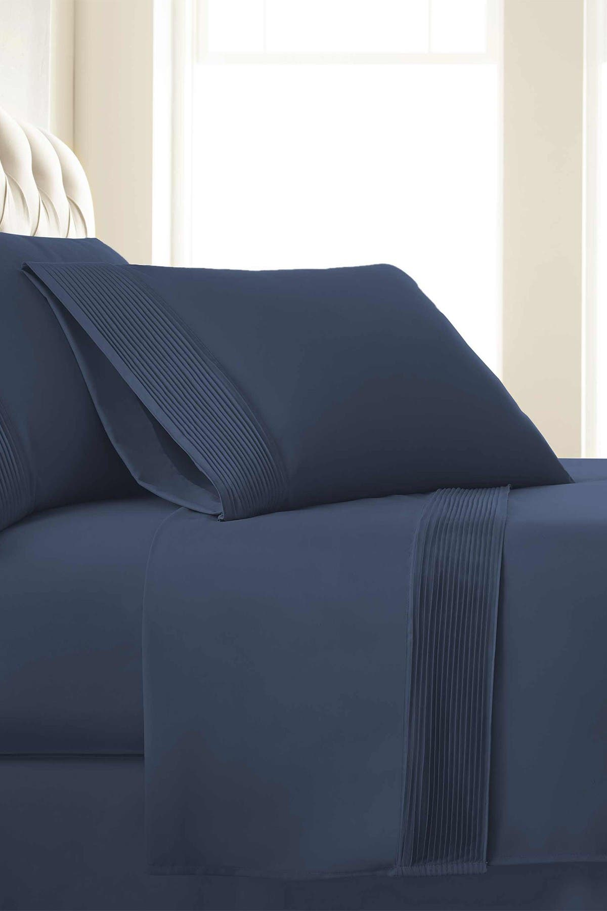 Image of SOUTHSHORE FINE LINENS King Sized Premium Collection Double Brushed Extra Deep Pocket Pleated Sheet Set - Dark Blue