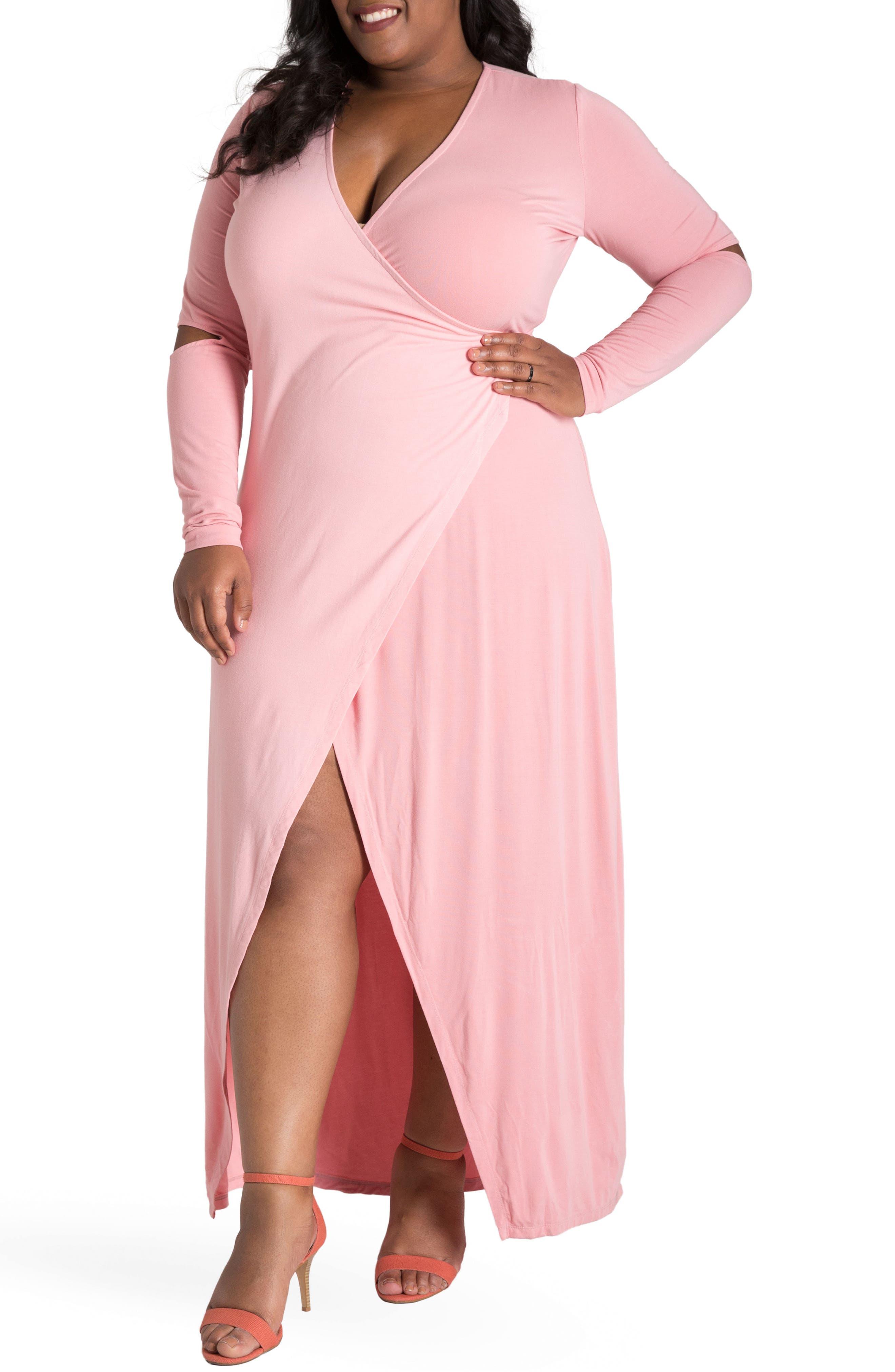 ,                             Rosa Maxi Wrap Dress,                             Main thumbnail 1, color,                             PINK