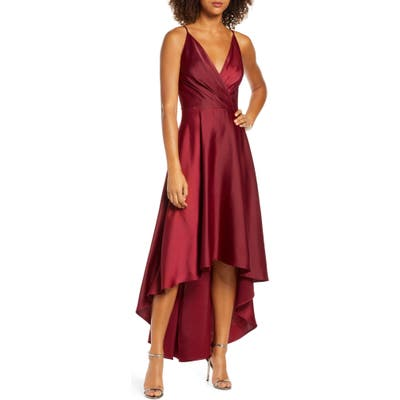 Chi Chi London Mena Surplice High/low Satin Gown, Burgundy
