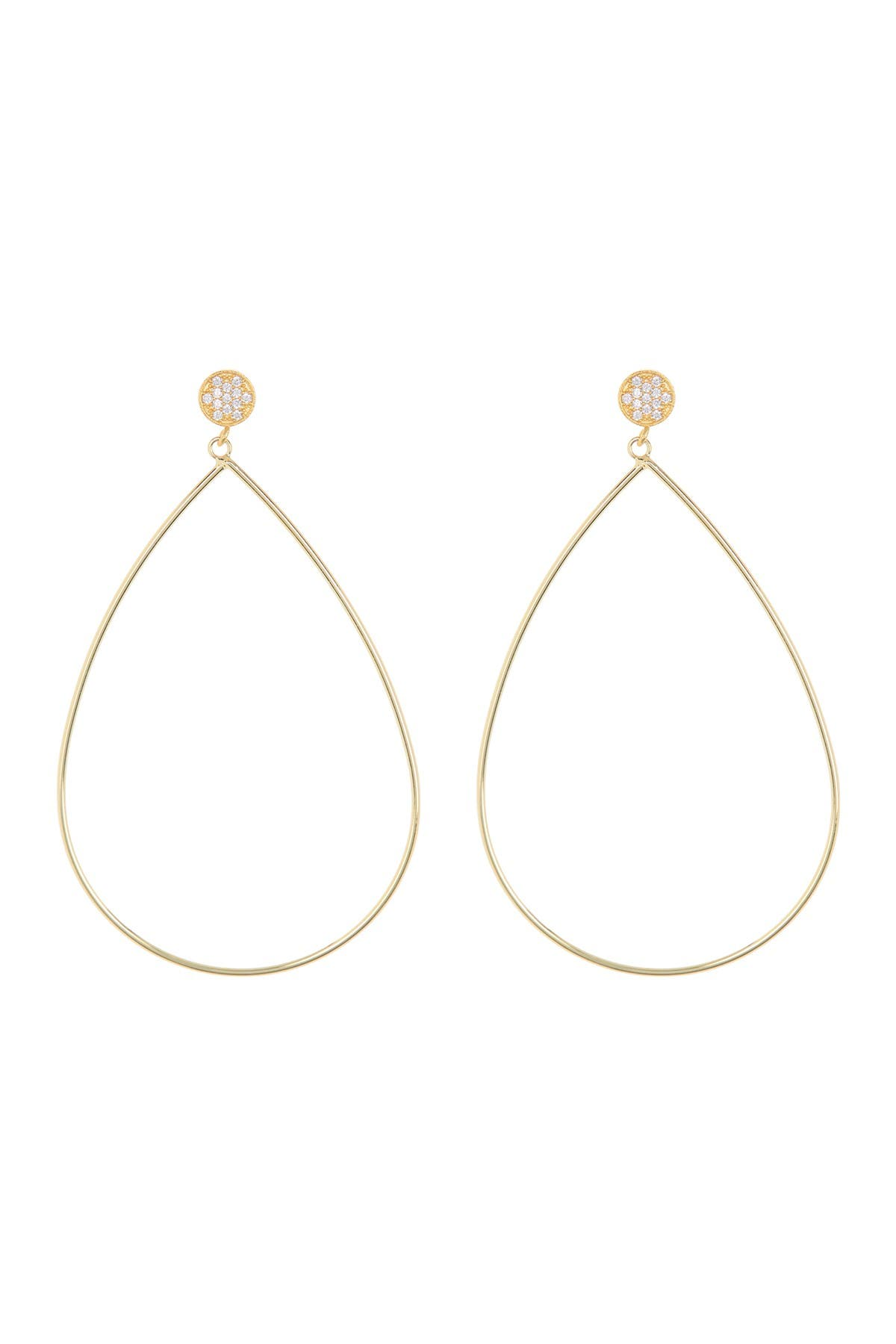 Image of Rivka Friedman 18K Gold Clad CZ Accent Wire Teardrop Earrings