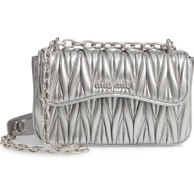 Miu Miu Matelasse Leather Shoulder Bag - Metallic